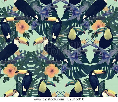 Seamless vintage style pattern with toucans. Hand drawn vector.