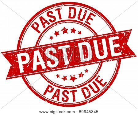 Past Due Grunge Retro Red Isolated Ribbon Stamp