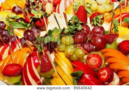 Authentic Buffet, Assorted Fresh Fruits, Berries And Citrus Fruits. Morning Atmospheric Lighting, Fa