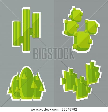 Abstract Cactus Flat Style.