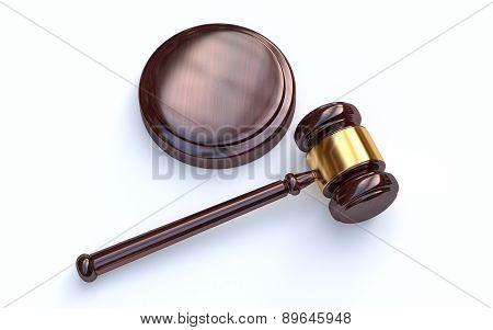 Judge Gavel On White Background