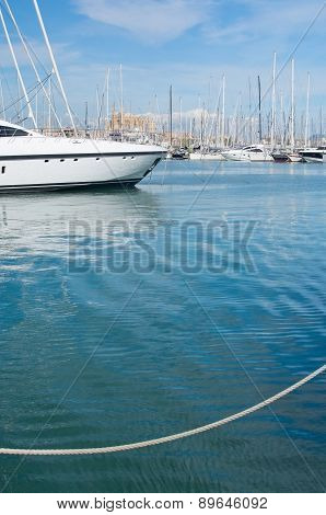 Yacht cathedral and rope in Palma harbor
