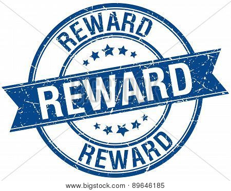 Reward Grunge Retro Blue Isolated Ribbon Stamp