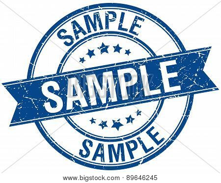 Sample Grunge Retro Blue Isolated Ribbon Stamp