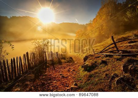 mountain landscape in autumn morning