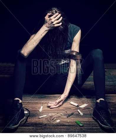 Young Beautiful Woman Poses As Drug Addict.