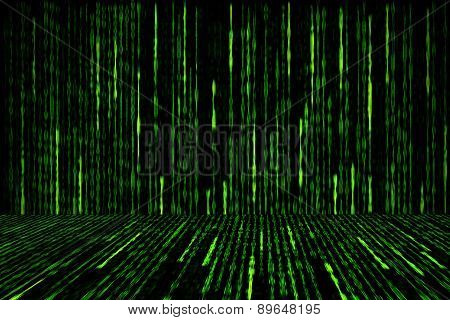 Digital Green Matrix Generated On Black Background.
