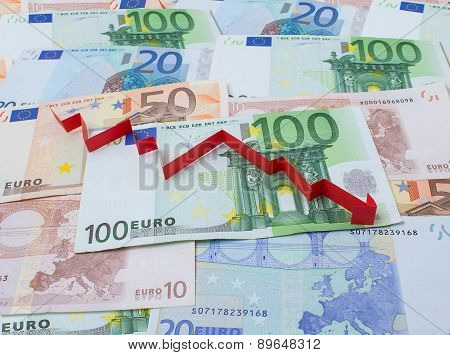 Background Of Euro And Arrow Down