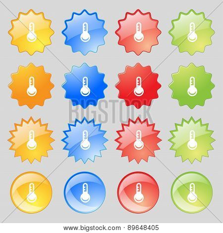 Thermometer, Temperature Icon Sign. Big Set Of 16 Colorful Modern Buttons For Your Design. Vector