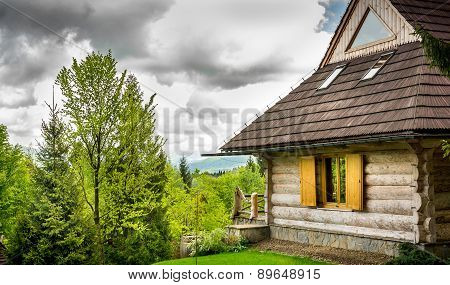 Beautiful Log Cabin In Forest