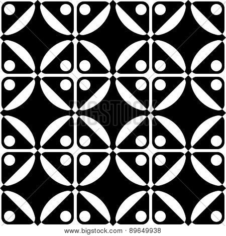 Seamless Oriental Ornament. Abstract Black and White Background. Vector Square and Circle Pattern