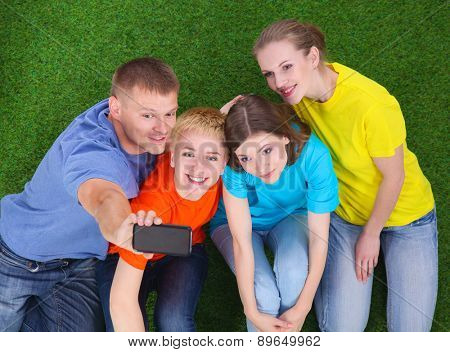 Group of young people sitting on green grass with phone.