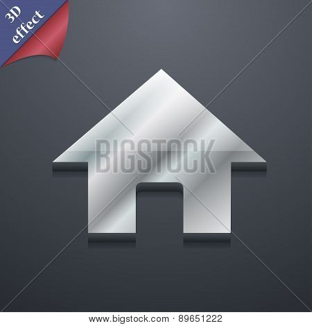 Home, Main Page Icon Symbol. 3D Style. Trendy, Modern Design With Space For Your Text Vector