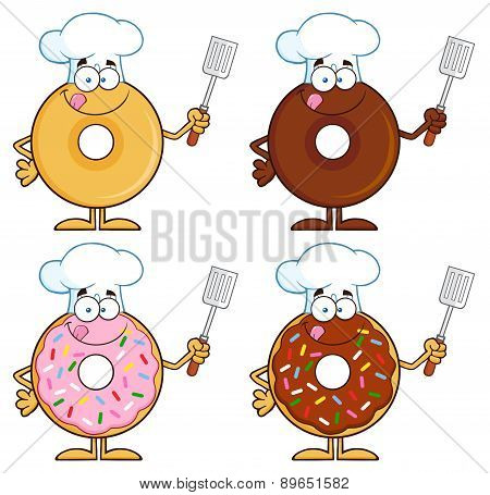 Four Cute Donuts Cartoon Character 4. Collection Set