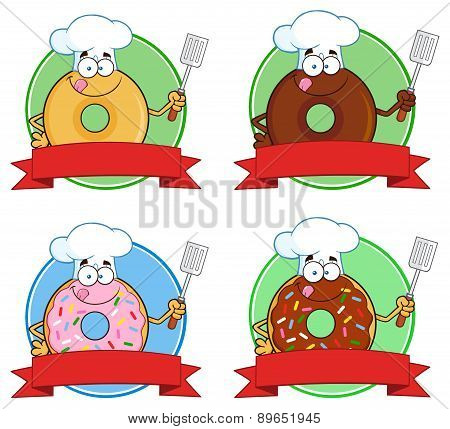 Donut Cartoon Character Circle Label 5. Collection Set