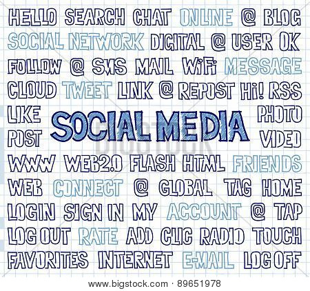 Hand Written Social Media Words, Tags, And Labels On Squared Paper