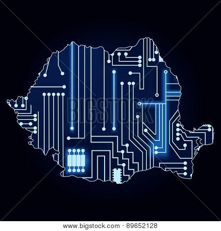 Map Of Romania With Electronic Circuit