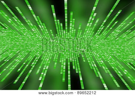 Matrix Made Of Green Square Polkadots On Black Background