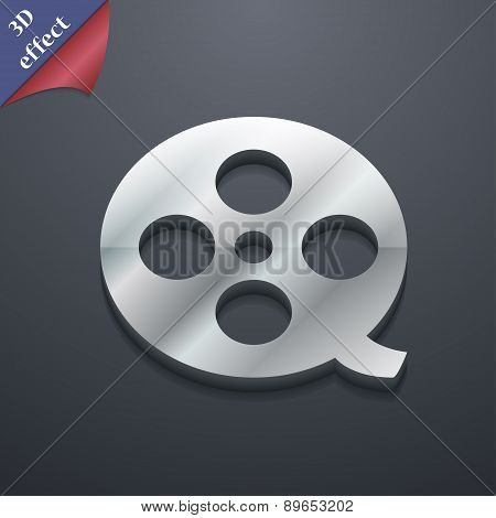 Film Icon Symbol. 3D Style. Trendy, Modern Design With Space For Your Text Vector