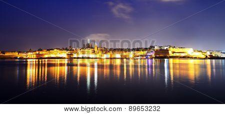 The Panorama Of Valletta In Night Illumination, Sliema, Malta