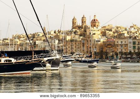 The View On Senglea And Yachts In Sunset, Malta