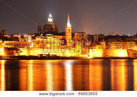The View On Valletta In Night Illumination, Sliema, Malta