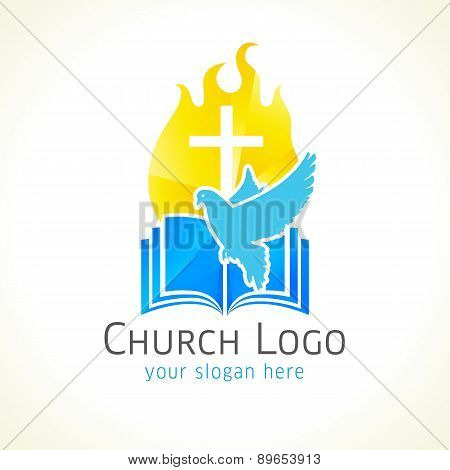 Christian church vector logo golden glowing crucifix fire dove christian church vector logo golden glowing crucifix fire dove bible fiery thecheapjerseys Gallery