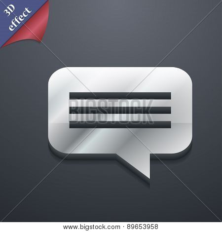 Speech Bubble, Chat Think Icon Symbol. 3D Style. Trendy, Modern Design With Space For Your Text Vect