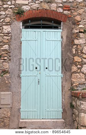 Vintage Blue Wood Door, Provence, France