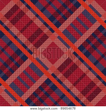 Tartan Seamless Diagonal Texture In Red And Blue