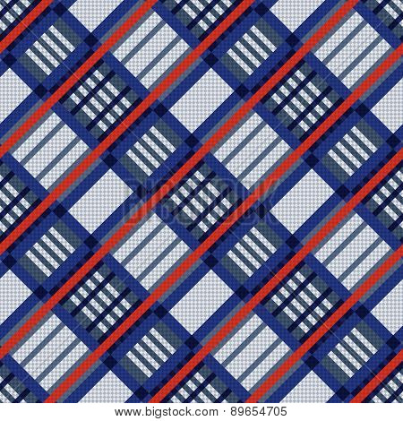 Tartan Seamless Diagonal Texture In Blue, Red And Grey