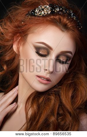 Portrait Of Beautiful Sensual Red-haired Woman
