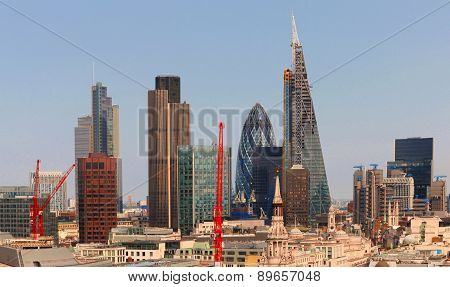 City of London one of the leading centres of global finance.This view includes Tower 42 Gherkin,Will