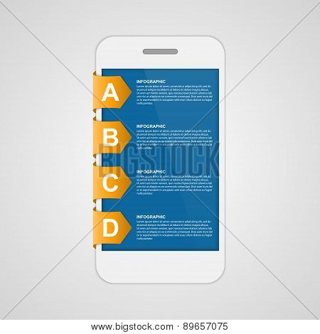 Modern Design Creative Sticker Infographic With Mobile Phone. Vector Illustration.
