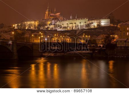 Night view on the Prague castle, Czech republic