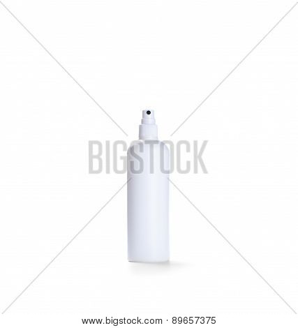 White Container Of Spray Bottle Isolated Over White