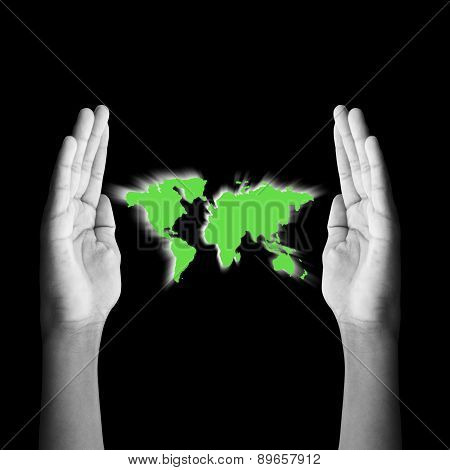 Concept.black And White Two Hands, Protect The Planet Green.