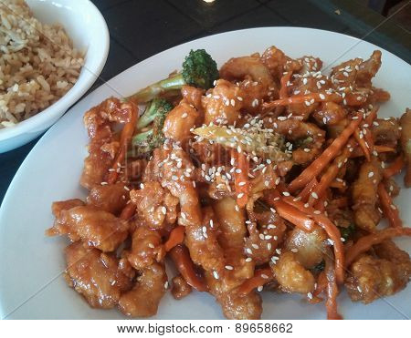 Sesame Chicken with Fried Rice