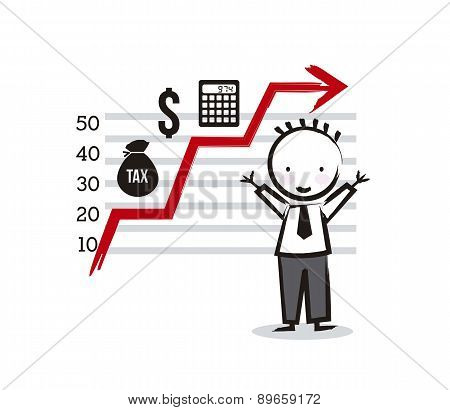 Businessman Cartoon With Tax Icons Vector Illustration