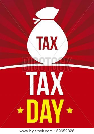 Tax Background Over Red Background Vector Illustration