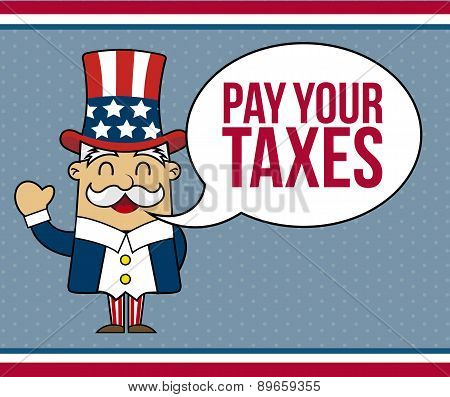 Uncle Sam Cartoon Over Blue Background Vector Illustration