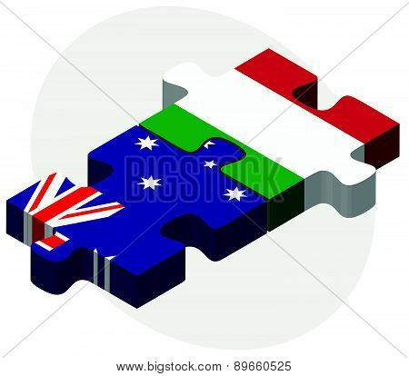 Australia And Italy Flags In Puzzle