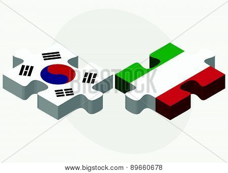 South Korea And Italy Flags In Puzzle