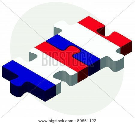 France And France Flags In Puzzle