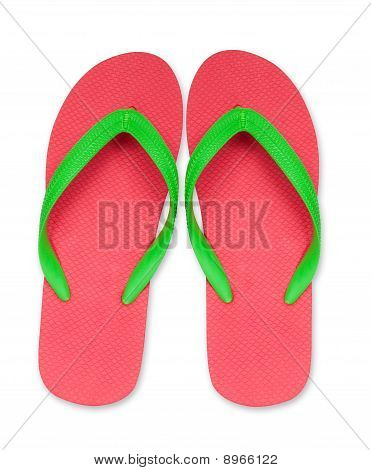 Red And Green Flip Flop Sandals Isolated