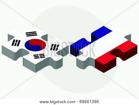 South Korea And France Flags In Puzzle