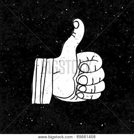 Thumb up Symbol Hand-drawn on Black Textured Background