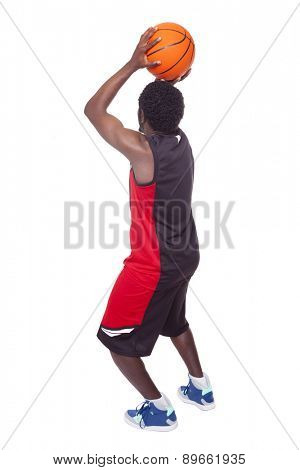Basketball player isolated on white background