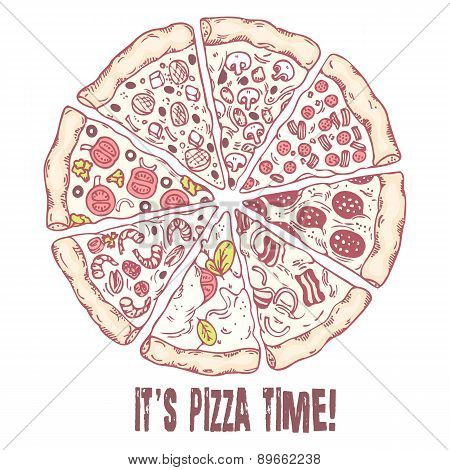 Pizza with different slices. Sketched vector illustration