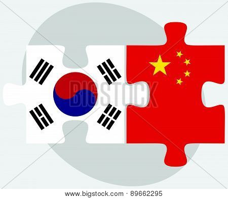 South Korea And China Flags In Puzzle